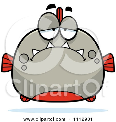 Clipart Depressed Piranha Fish - Royalty Free Vector Illustration by Cory Thoman