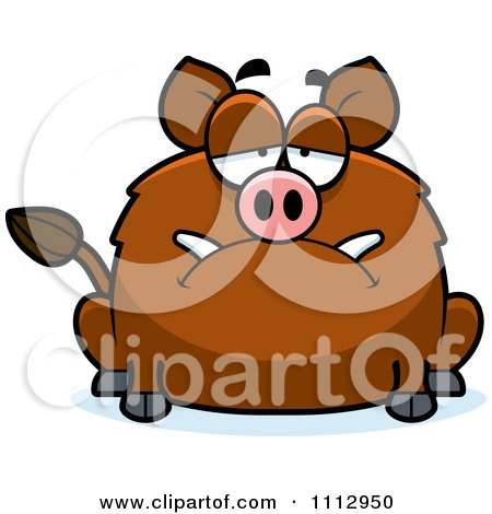 Clipart Depressed Boar - Royalty Free Vector Illustration by Cory Thoman
