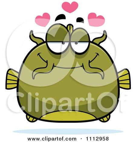Clipart Green Catfish In Love - Royalty Free Vector Illustration by Cory Thoman