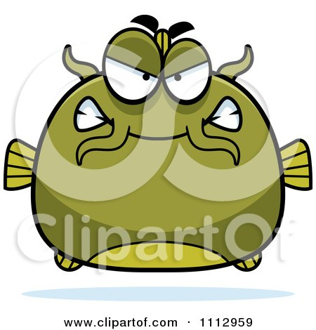 Clipart Angry Green Catfish - Royalty Free Vector Illustration by Cory Thoman