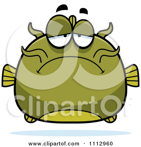 Clipart Depressed Green Catfish - Royalty Free Vector Illustration by Cory Thoman