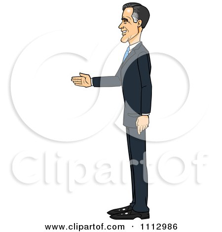 Clipart Mitt Romney Facing Left And Ready For A Handshake - Royalty Free Vector Illustration by Cartoon Solutions