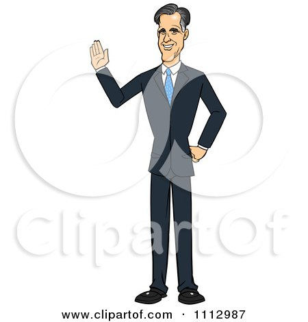 Clipart Mitt Romney Waving - Royalty Free Vector Illustration by Cartoon Solutions