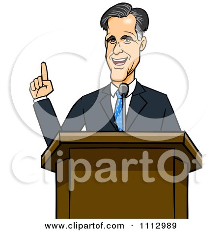 Clipart Mitt Romney Speaking At A Podium - Royalty Free Vector Illustration by Cartoon Solutions