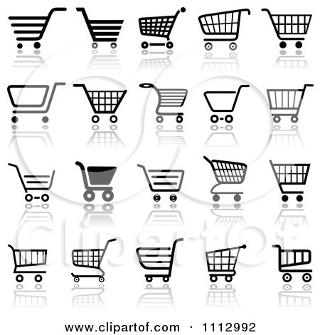Clipart Black And White Checkout Shopping Cart Icons With Reflections - Royalty Free Vector Illustration by dero