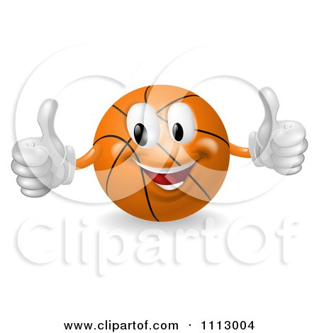 Clipart 3d Happy Basketball Mascot Holding Two Thumbs Up - Royalty Free Vector Illustration by AtStockIllustration