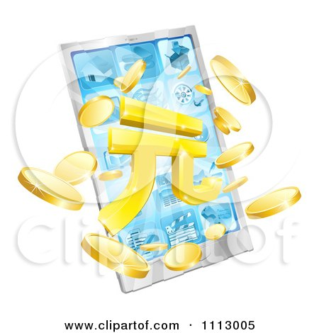 Clipart 3d Smart Phone With Yuan And Coins Bursting From The Screen - Royalty Free Vector Illustration by AtStockIllustration