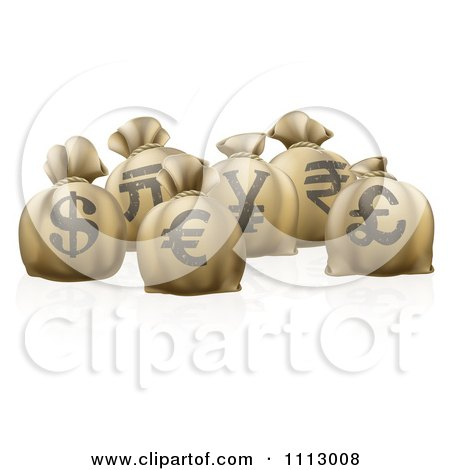 Clipart 3d Money Sacks With Currency Symbols - Royalty Free Vector Illustration by AtStockIllustration
