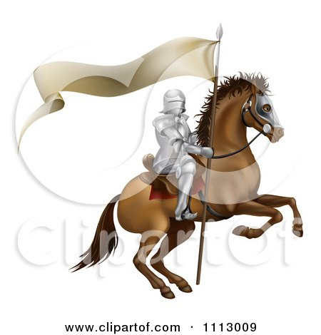 Clipart 3d Mounted Knight With A Banner Flag - Royalty Free Vector Illustration by AtStockIllustration