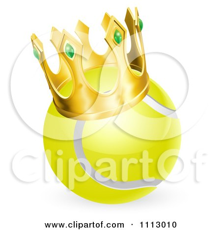 Clipart 3d Tennis Ball Wearing A Golden Crown - Royalty Free Vector Illustration by AtStockIllustration