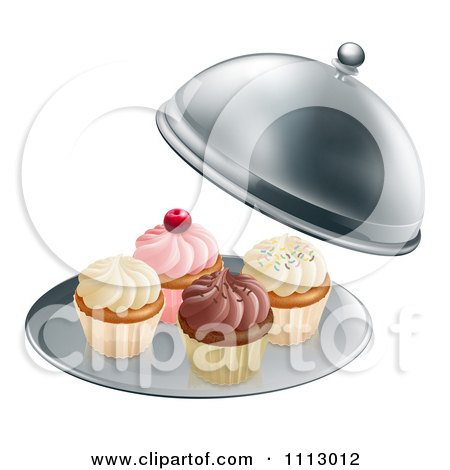 Clipart 3d Cupcakes On A Platter Under A Cloche - Royalty Free Vector Illustration by AtStockIllustration