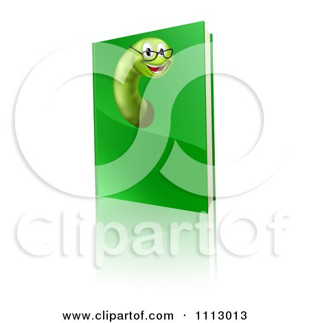 Clipart Happy Worm Wearing Glasses And Emerging From A Green Book - Royalty Free Vector Illustration by AtStockIllustration