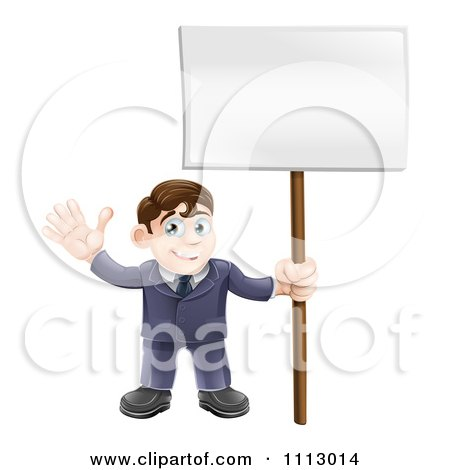 Clipart Happy Businessman Waving And Holding A Sign - Royalty Free Vector Illustration by AtStockIllustration
