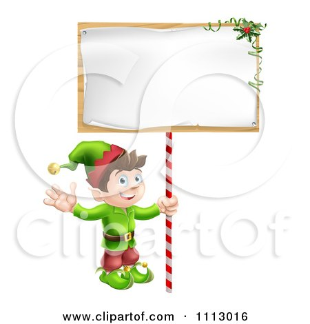 Clipart Happy Christmas Elf Waving And Holding A Sign - Royalty Free Vector Illustration by AtStockIllustration