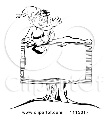 Clipart Outlined Happy Waving Christmas Elf Sitting On A Wooden Sign - Royalty Free Vector Illustration by AtStockIllustration