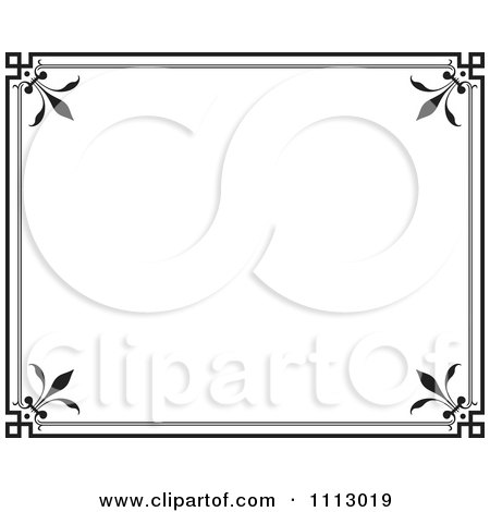 Clipart Black Ornate Frame With White Copyspace 2 - Royalty Free Vector Illustration by Frisko
