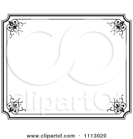 Clipart Black Ornate Frame With White Copyspace 3 - Royalty Free Vector Illustration by Frisko