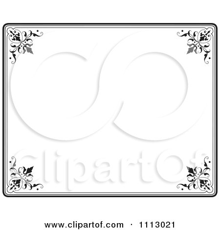 Clipart Black Ornate Frame With White Copyspace 4 - Royalty Free Vector Illustration by Frisko