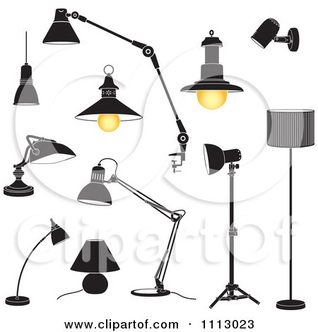 Clipart Black And White Lamps - Royalty Free Vector Illustration by Frisko