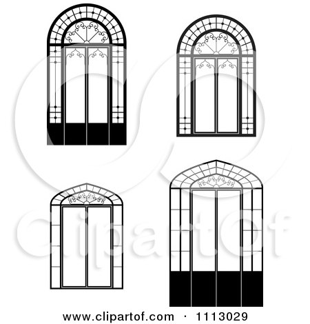 clipart black and white windows and doors royalty free vector illustration by frisko 1113029. Black Bedroom Furniture Sets. Home Design Ideas