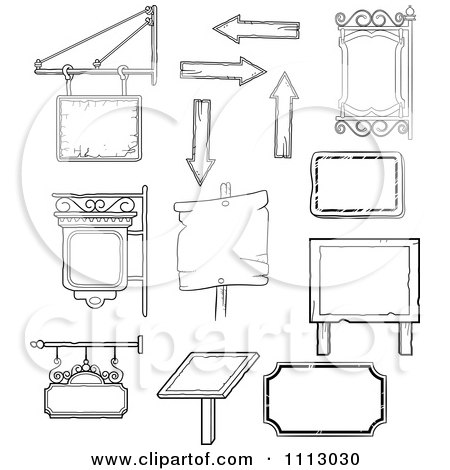 Clipart Black And White Vintage Signs And Shingles - Royalty Free Vector Illustration by Frisko