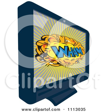 Clipart Retro LCD Television Screen With A Comic WHAM Explosion - Royalty Free Vector Illustration by patrimonio