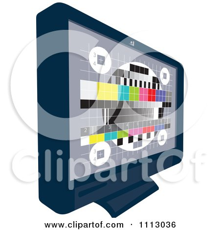 Clipart LCD Television Screen With A Test Signal Display - Royalty Free Vector Illustration by patrimonio