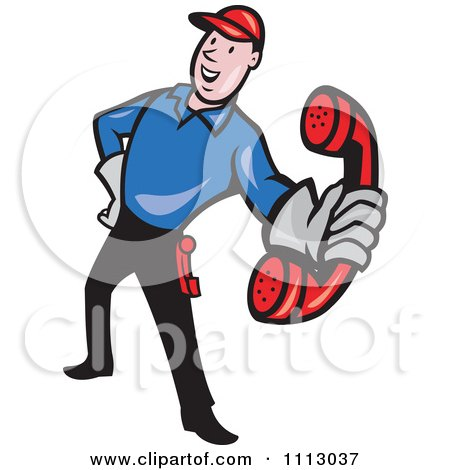 Clipart Retro Telephone Repair Man Holding Out A Red Receiver - Royalty Free Vector Illustration by patrimonio