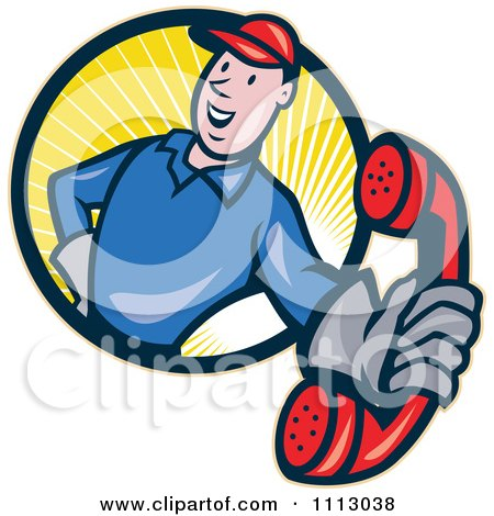 Clipart Retro Telephone Repair Man In A Circle Of Rays Holding Out A Red Receiver - Royalty Free Vector Illustration by patrimonio
