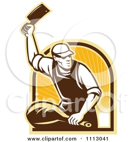 Clipart Retro Butcher Cutting A Ham Over An Arch Of Rays - Royalty Free Vector Illustration by patrimonio