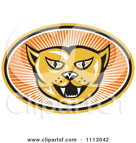 Clipart Retro Angry Cat Face In An Oval Of Rays - Royalty Free Vector Illustration by patrimonio