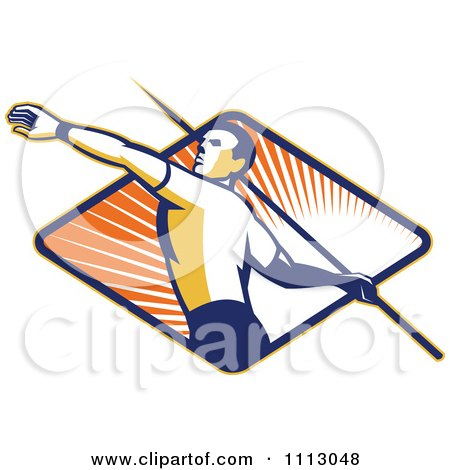 Clipart Retro Track And Field Javelin Thrower Over A Ray Diamond - Royalty Free Vector Illustration by patrimonio