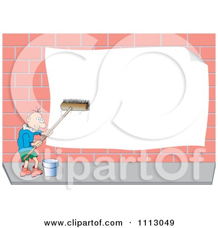 Clipart Man Scrubbing A Publicity Banner On A Brick Wall - Royalty Free Vector Illustration by pauloribau