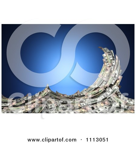 Clipart 3d Cash Money Forming A Splashing Wave Over Blue - Royalty Free CGI Illustration by stockillustrations