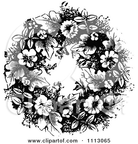 Clipart Vintage Black And White Floral Wreath - Royalty Free Vector Illustration by Prawny Vintage