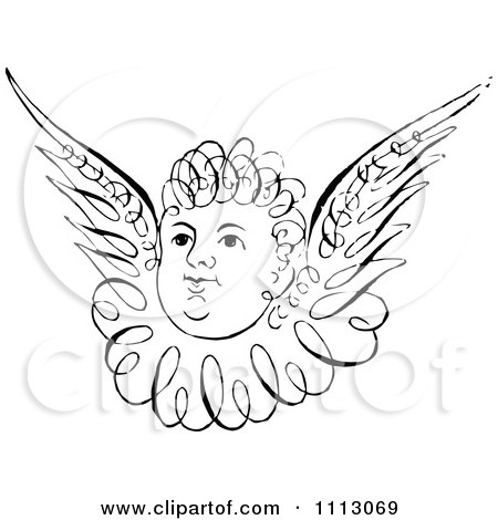 Clipart Black And White Angelic Cherub Face With Wings - Royalty Free Vector Illustration by Prawny Vintage