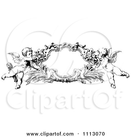 clipart black and white angelic cherubs holding a frame