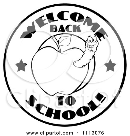 Clipart Black And White Welcome Back To School Circle With A Worm In An Apple - Royalty Free Vector Illustration by Hit Toon