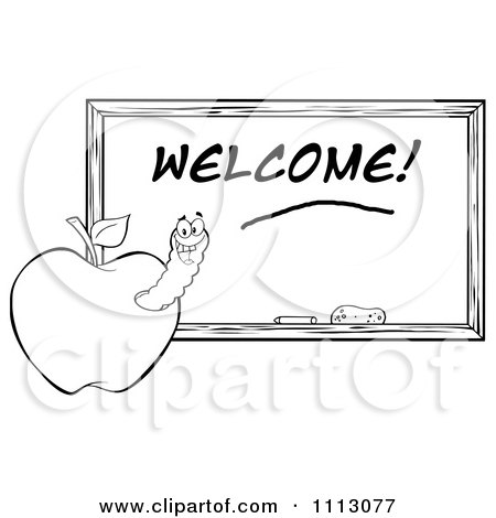Clipart Black And White Happy Worm In An Apple By A Welcome Chalkboard- Royalty Free Vector Illustration by Hit Toon