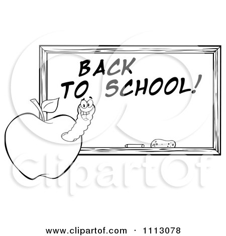 Clipart Black And White Happy Worm In An Apple By A Back To School Chalkboard- Royalty Free Vector Illustration by Hit Toon