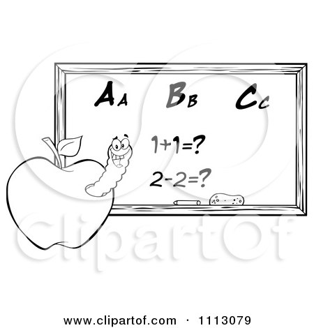 Clipart Black And White Happy Worm In An Apple By A Math Chalkboard- Royalty Free Vector Illustration by Hit Toon