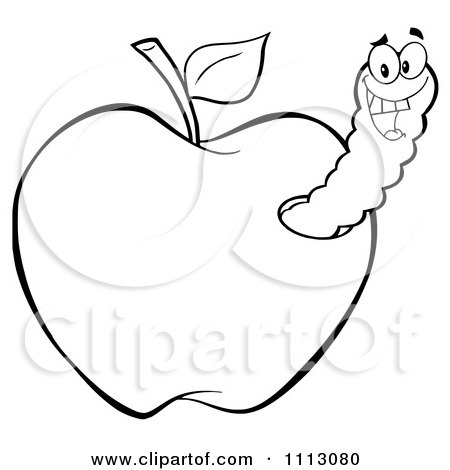 Clipart Happy Outlined Worm In An Apple - Royalty Free Vector Illustration by Hit Toon