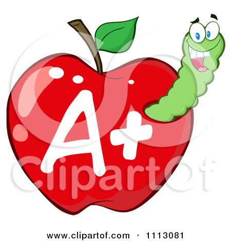 Clipart Happy Green Worm In A Red A Plus Apple - Royalty Free Vector Illustration by Hit Toon
