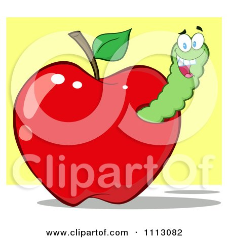 Clipart Happy Grinning Worm In A Red Apple - Royalty Free Vector Illustration by Hit Toon
