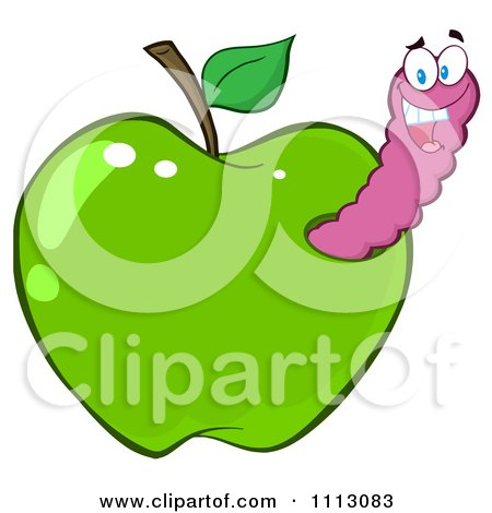 Clipart Happy Purple Worm In A Green Apple - Royalty Free Vector Illustration by Hit Toon