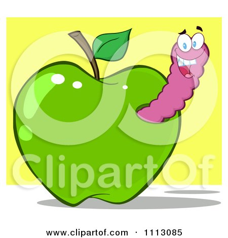Clipart Happy Purple Worm In A Green Apple Over Yellow - Royalty Free Vector Illustration by Hit Toon