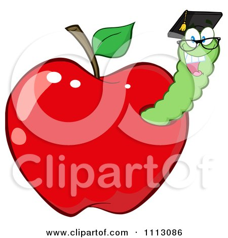 Clipart Happy Graduate Worm In A Red Apple - Royalty Free Vector Illustration by Hit Toon