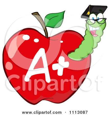 Clipart Happy Graduate Worm In A Red A Plus Apple - Royalty Free Vector Illustration by Hit Toon