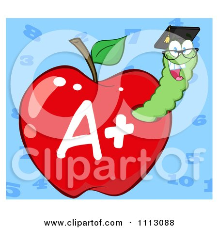 Clipart Happy Graduate Worm In A Red A Plus Apple Over Blue - Royalty Free Vector Illustration by Hit Toon