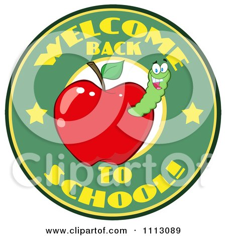 Clipart Welcome Back To School Circle With A Worm In A Red Apple 1 - Royalty Free Vector Illustration by Hit Toon